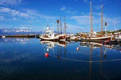 Husavik harbour in the summer, Iceland