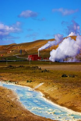 Geothermal power-station near the Krafla vulcano, Iceland