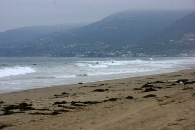 Early morning in Malibu with surfers waiting for the right wave, California, US