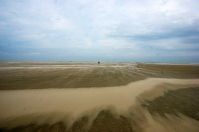 Only with tiny people in the distance can one appreciate the size of the beaches in Borkum during low tide