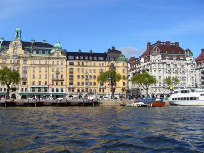 Luxurious houses at the banks of the Stockholm bay