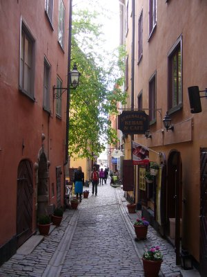 Cosy street of Gamla Stan in Stockholm