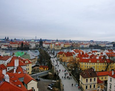 Prague rooftops from the Old Town tower at the Charles Bridge