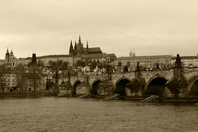 View of Prague castle across the river Vltava
