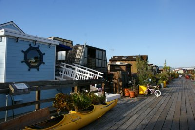 Inside a closed community of Sausalito floating houses, California, US