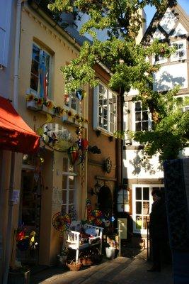 Cosy corner in the Schnoorviertel - the oldest part of Bremen, Germany
