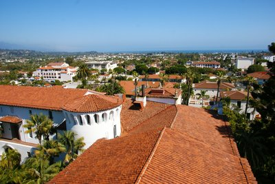 Santa Barbara roof tops, California, US