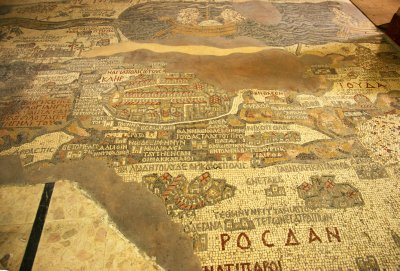 The famous mosaic map of Palestine in St. Georg&#39;s church in Madaba
