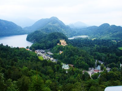 Schwangau area surrounded by forests, lakes and mountains, Germany