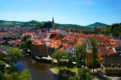 View of Český Krumlov from Plástovy Most