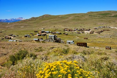View of Bodie from top of the hill, California