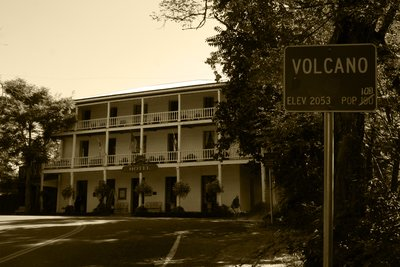 Volcano and its famous Hotel George, California