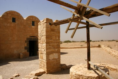 Water well at desert castle Qusair Amra