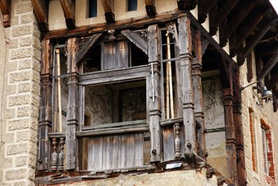 Beautifully carved wooden part of a derelict country house