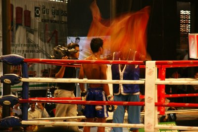 Kickboxer being cooled down