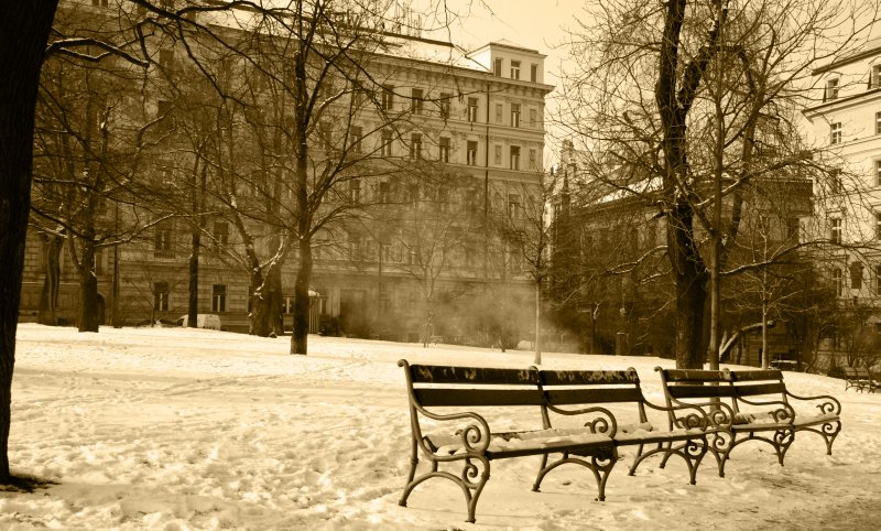 Empty park benches in the freezing Prague