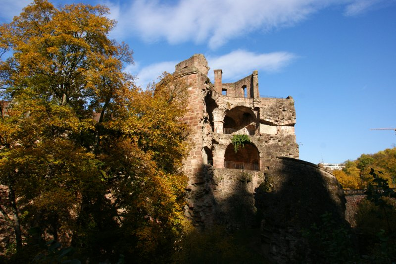One of the remains of castle tower in Heidelberg with 7m wide walls