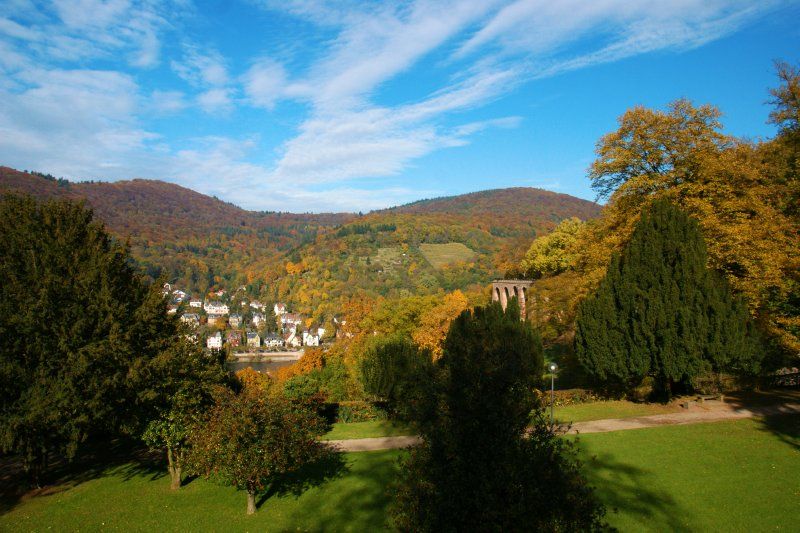 Hills around Heidelberg are beautifully enhanced by the autumn colours and late afternoon sun