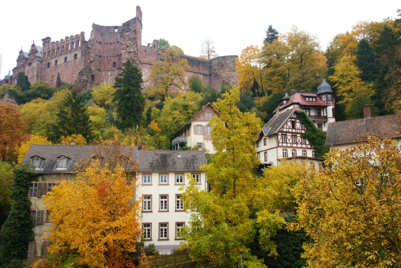 View of the Heidelberg hills and castle from our hotel window, Germany