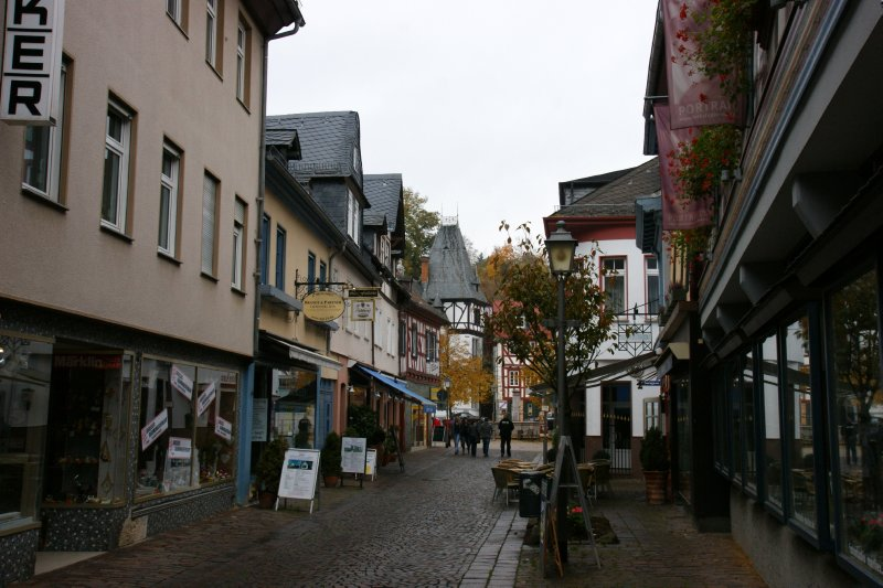 Old street in the Idstein altstadt, Germany