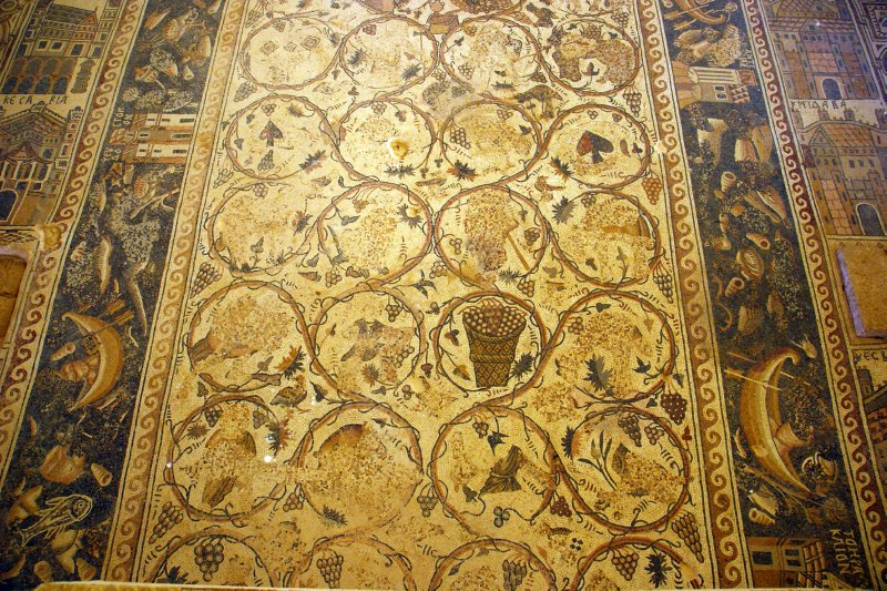One of the most famous Jordanian mosaics in Umm Al-Rassas St. Stephan church - unfortunately with distorted figures