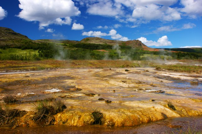 Geothermal area Haukadalur in Iceland