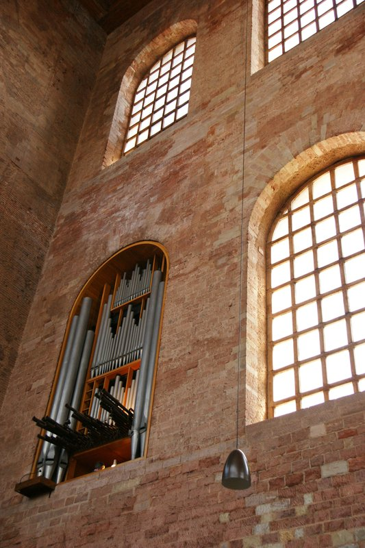 Window converted into an organ in the Trier Basilica, Germany