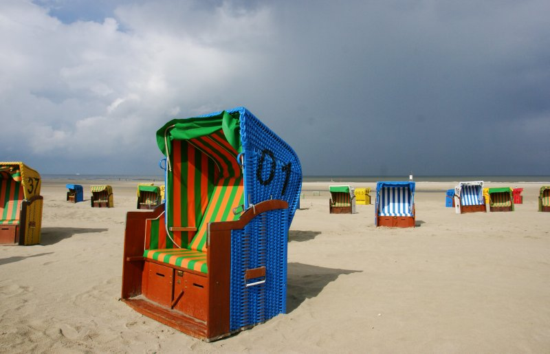 Colourful Strandkorbs at the beaches of Juist