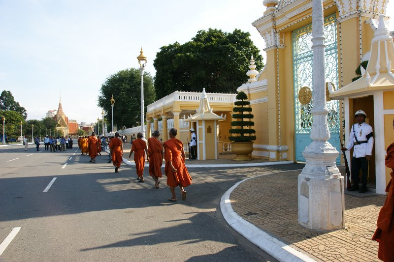 Monks asking for food donations