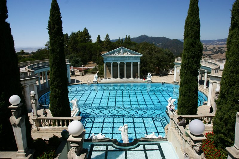The Neptune Pool built in an imposing Greek style at the Hearst Castle, California, US