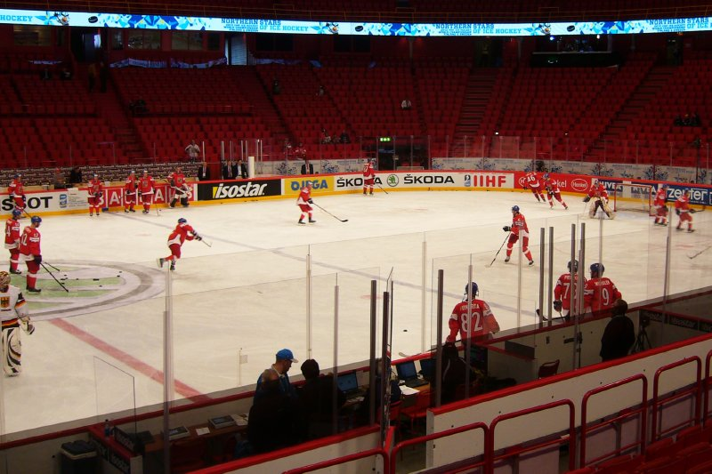 Warm-up of the Czech ice hockey team before game against Germany