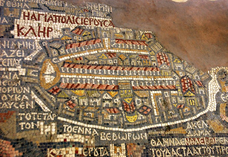 Detail of the mosaic of Palestine in St. George's Church in Madaba