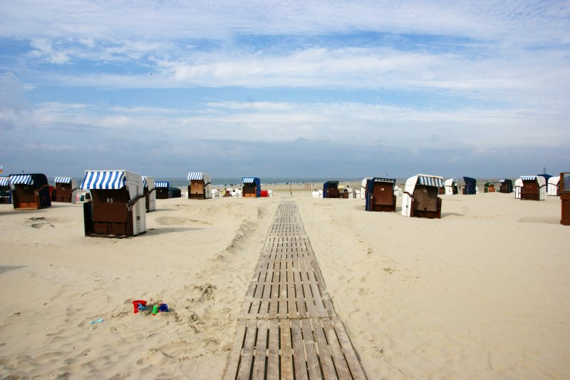 Path through the sea of Strandkobs at the Juist beach