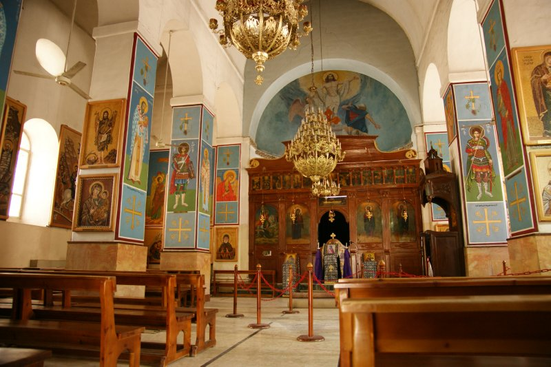 Interior of the greek orthodox St. George's Church housing the famous mosaic of Palestine
