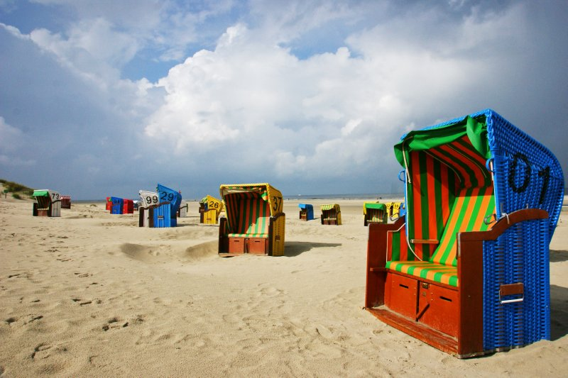 Strandkorbs at the beach in Juist