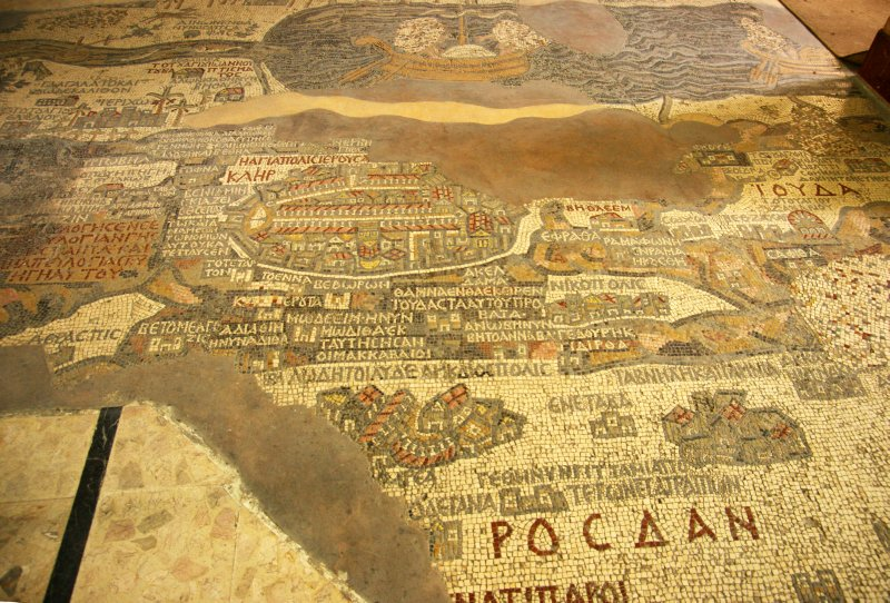 The famous mosaic map of Palestine in St. Georg's church in Madaba