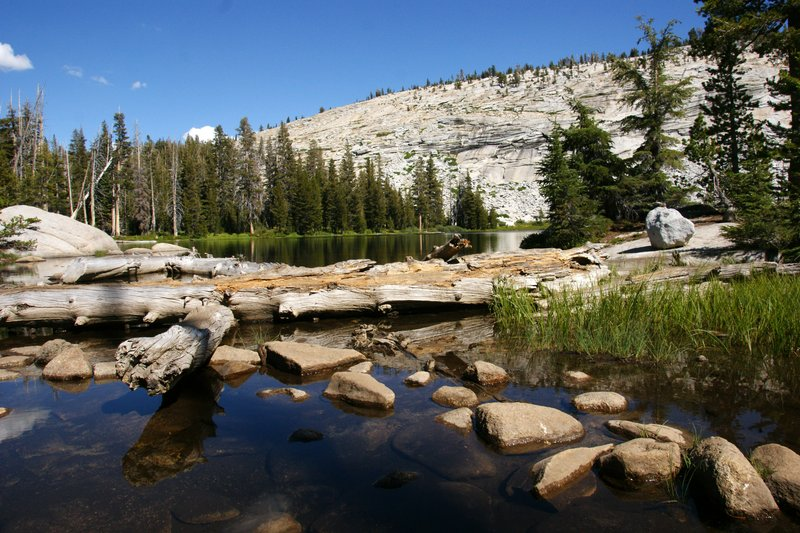 Structurally questionable crossing of the lower Sunrise Lake, Yosemite Park, California, US