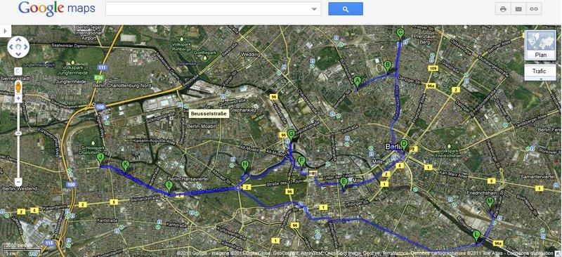 Mes déplacements de la journée, totalisant 10.1km