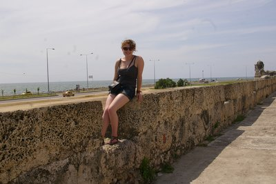 Alice on the Old City battlements.