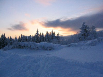 Snowy white sunset...