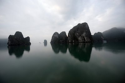 Limestone karsts in Halong Bay
