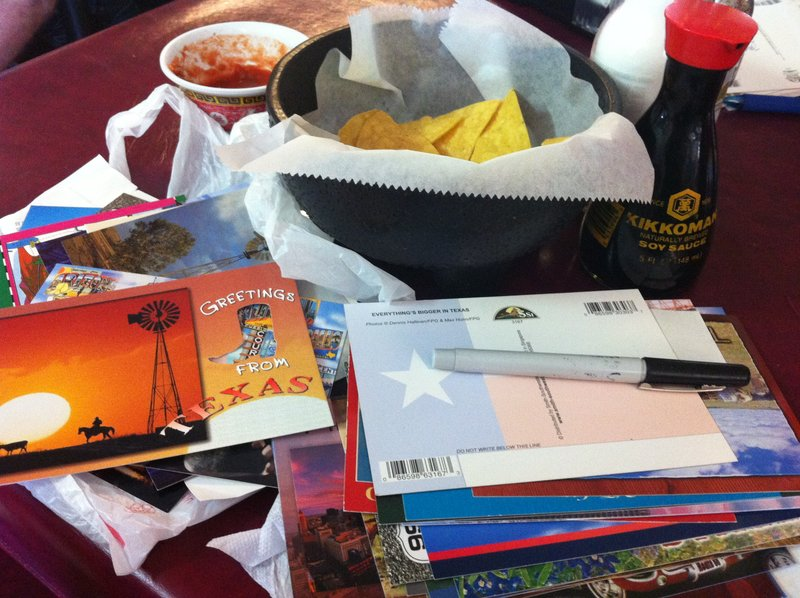 Chinese Mexican food and postcards