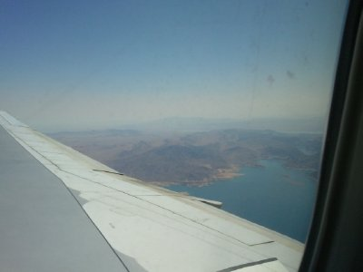 A small view of the Hoover Dam from the plane