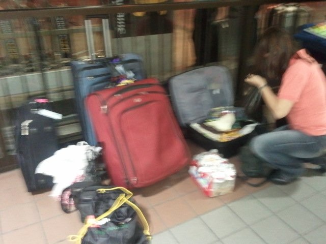 Arraging the luggage to make sure we had everything we needed