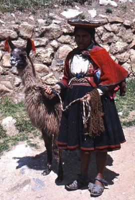 Llama and lady at Saqsayhuaman, Cuzco