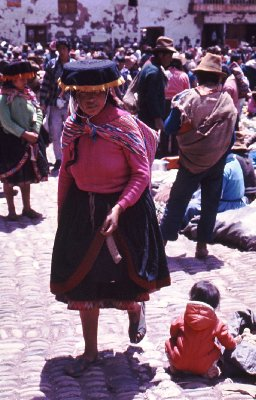 Street view from market day in Pisac in the Sacred Valley