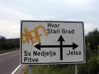 Road sign near Stari Grad Plain, island of Hvar