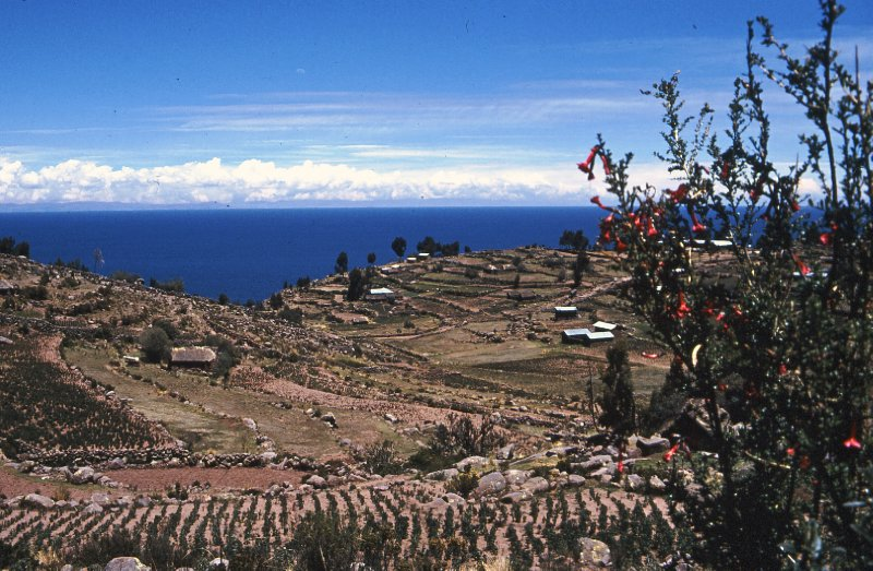 View of island of Taquile, Lake Titicaca