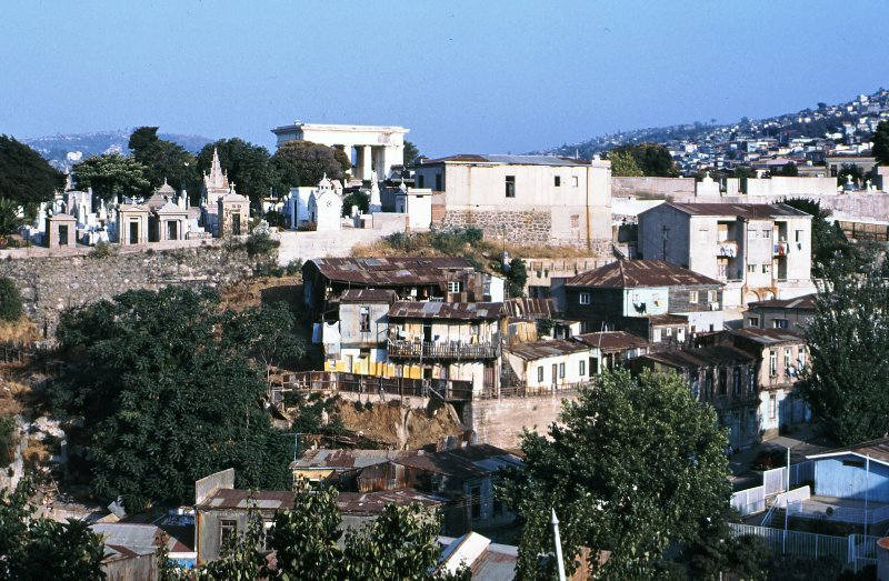 View of hill in Valparaiso