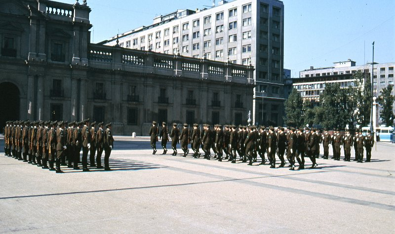 Soldiers parading in front of La Moneda Presidential Palace in Santiago de Chile